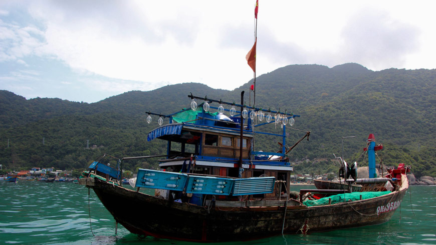 Vietnamese fishing boat near Cham Islands, Vietnam