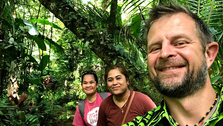 Christian Severin (right) participating in a GEF National Dialogue in Micronesia.