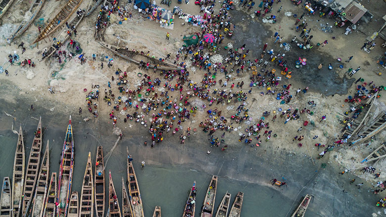 Drone view of artisanal fishing port Koukoude, prefecture of Boffa, Guinea