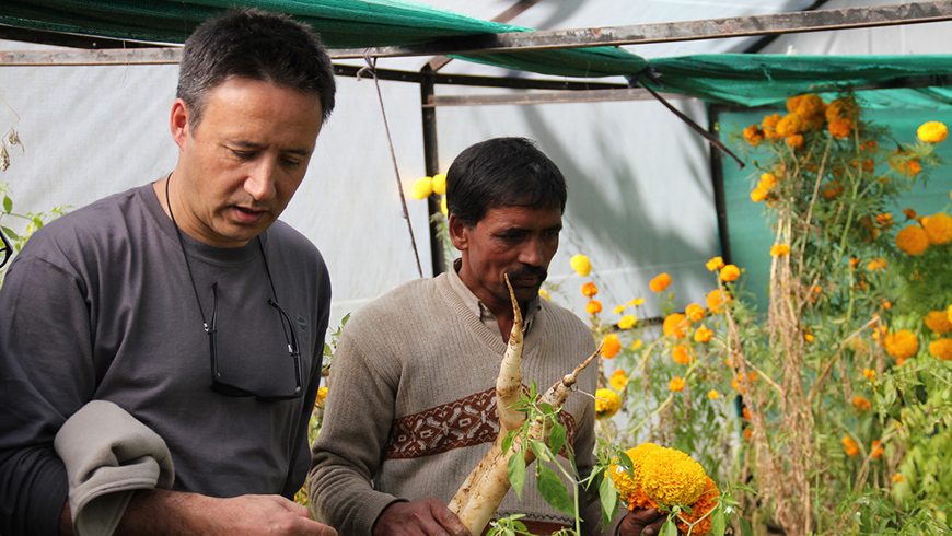 Jean-Marc Sinassamy (left) on a learning mission of the Sustainable Land and Ecosystem Management Country Partnership Program, Uttarakhand, India.
