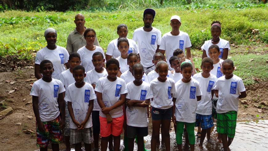 School kids taking part in water monitoring activities on La Digue island as part of awareness raising activities.