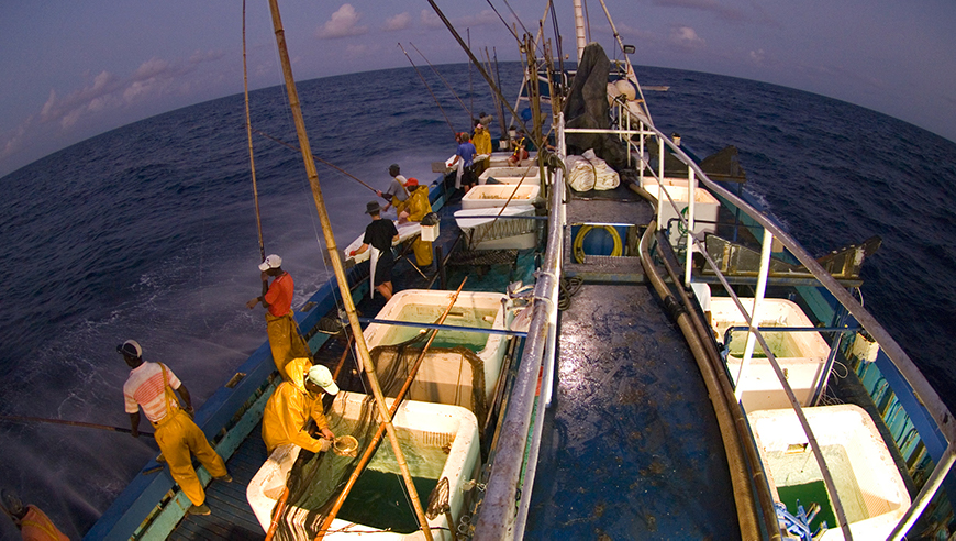 A pole-and-line tuna vessel during normal activities in preparations for fishing
