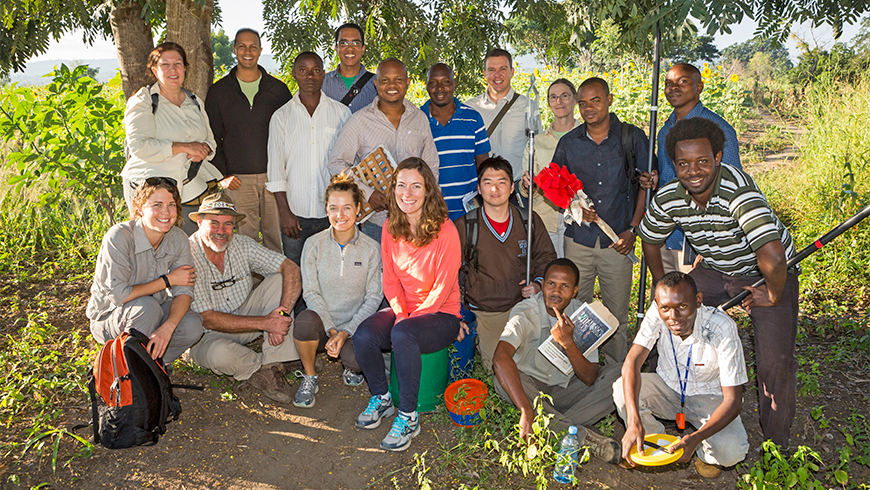 Sandy Andelman in a group photo with colleagues from the Vital Signs Tanzania team
