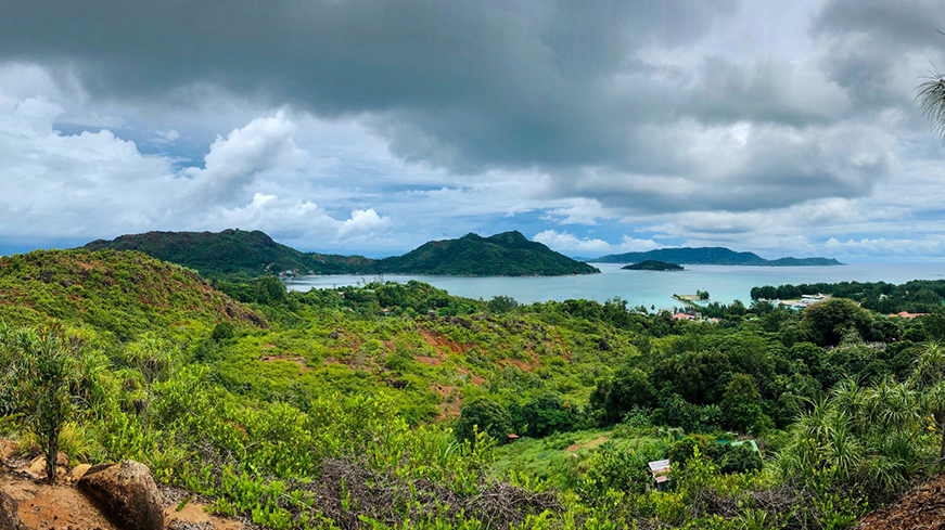 Landscape shot of the Seychelles