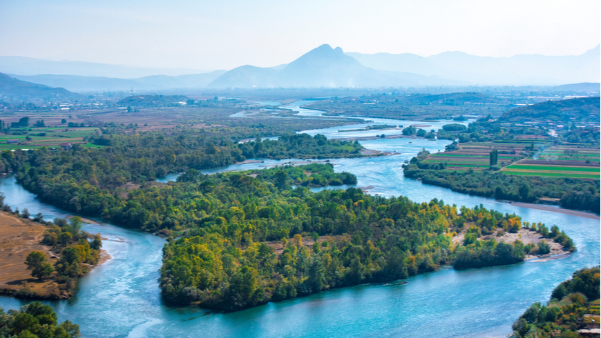 Aerial view of the Buna River after the confluence with the Drin River from Rozafa Castle, Shkoder, Albania