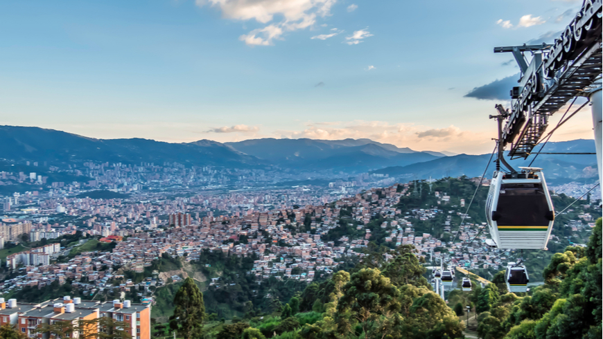 Medellin skyline as seen from the cable car station