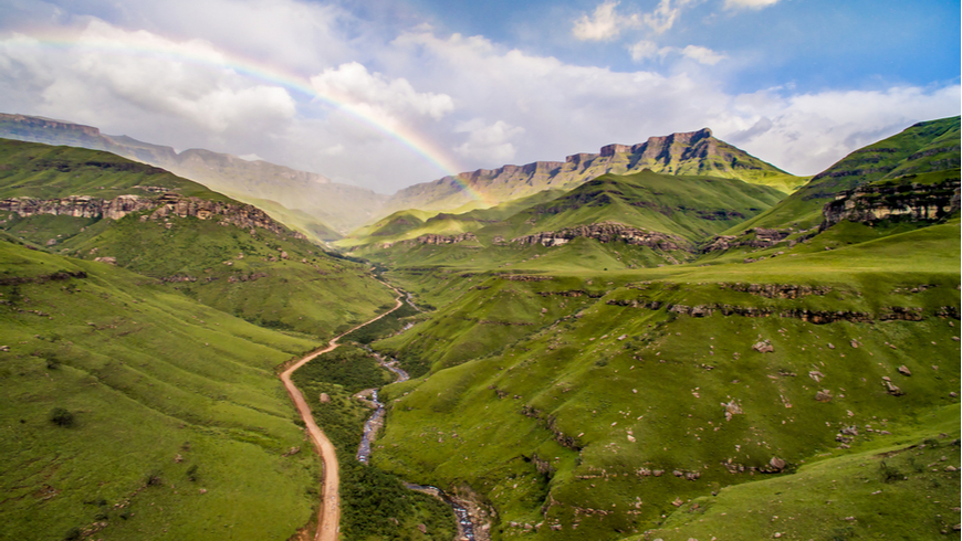 Rainbow over Sani Pass at Lesotho and South Africa border