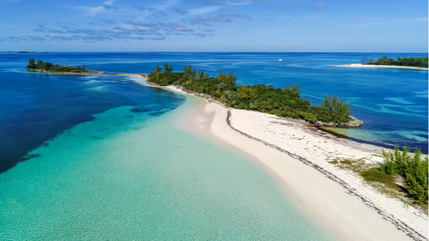 Aerial shot of bay and beach in Abaco, Bahamas