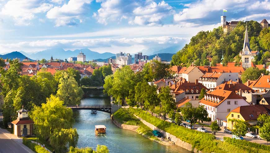 Cityscape of the Slovenian capital Ljubljana.