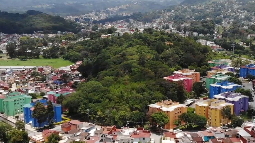 Aerial shot of Mexican city Xalapa