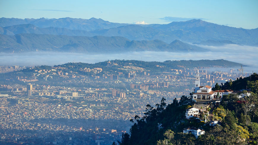 Bogota, Colombia from a distance. Photo: Shutterstock