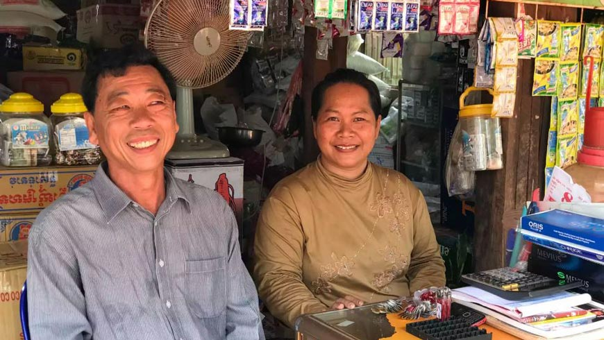 Polyvann and Chinda at their store in Boeng Preav village, Koh Krong.