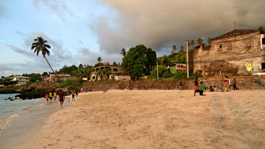 Clouds rolling in over a beach in Comoros.