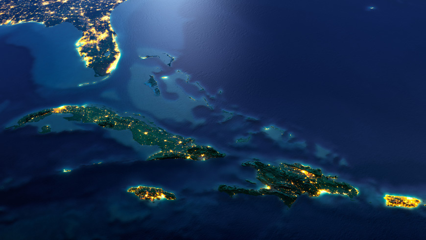 Dominican Republic and nearby countries at night from space