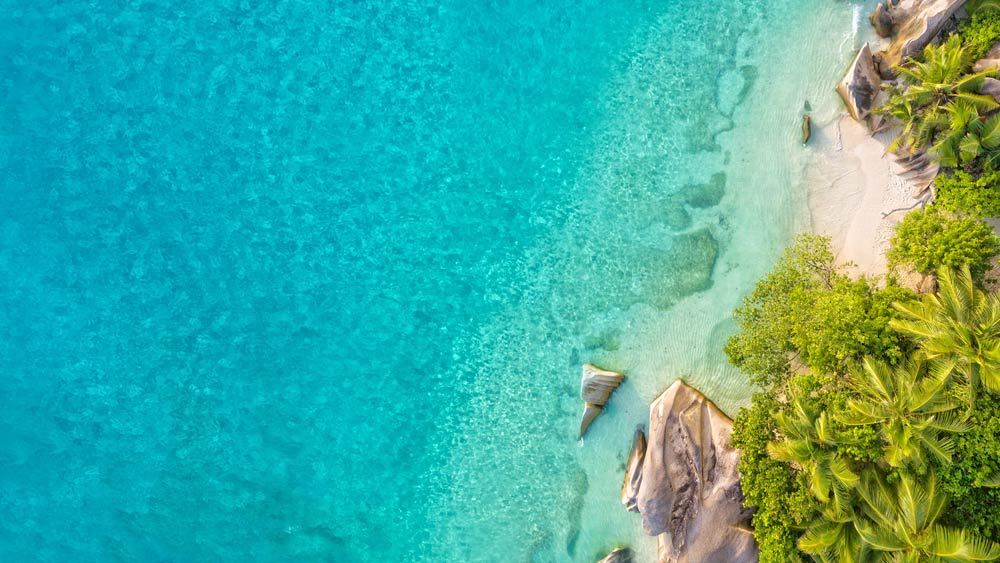 Aerial view of coastal area in Seychelles with turquoise water on left and beach on right. Photo: Jag_cz/Shutterstock.