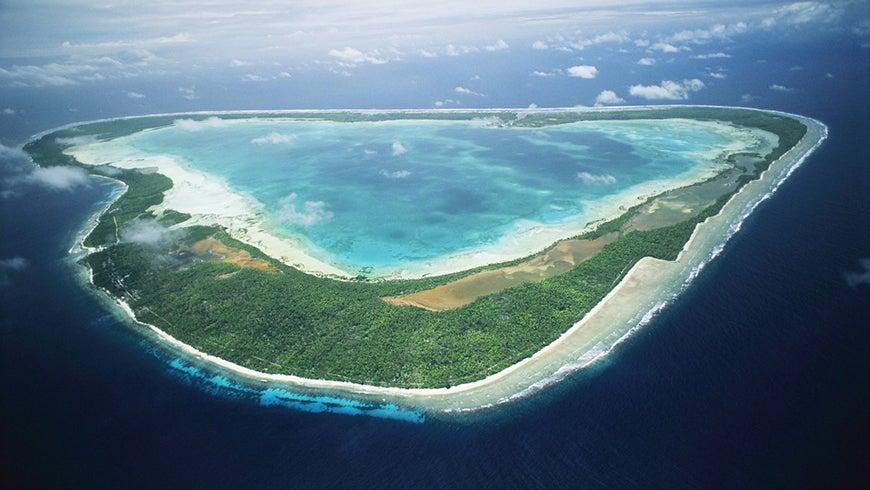 Aerial shot of Gilbert Island, Kiribati