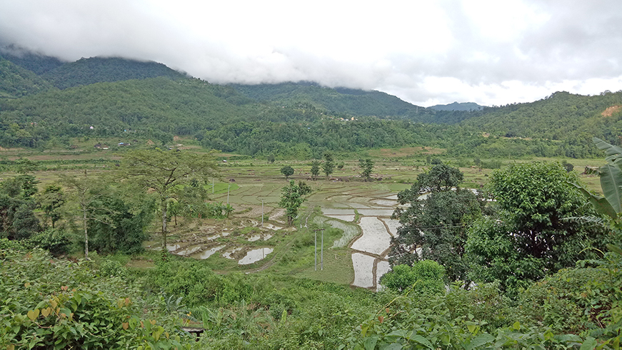 Panoramic view of a valley in the Marin watershed, Nepal