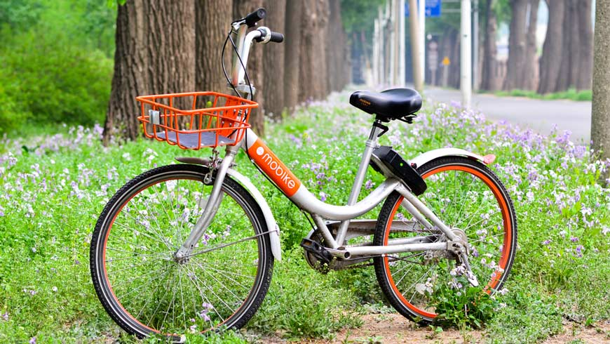 Mobike dockless bikeshare bicycle near bike path in China