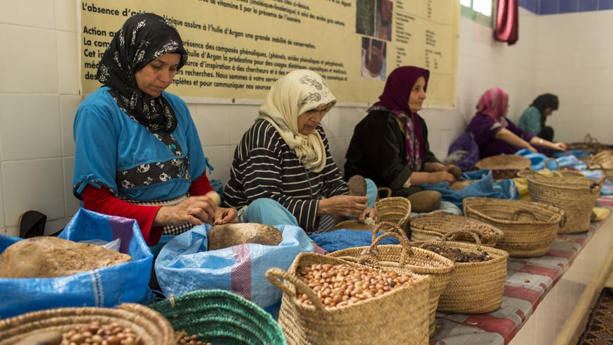 Women with argan fruits in women's cooperative in Morocco