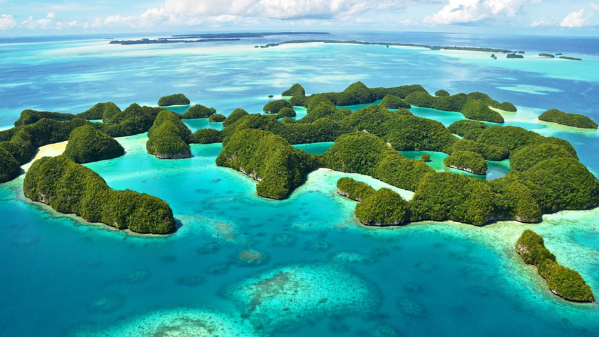 Islands of Palau as seen from above