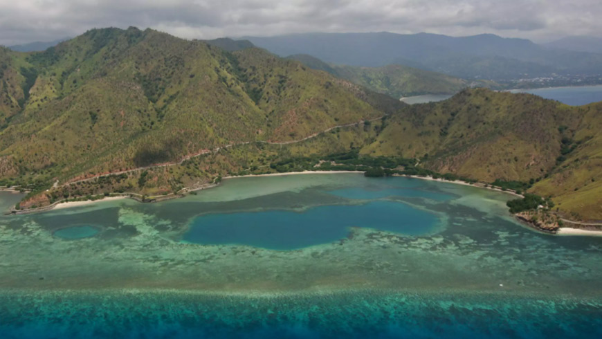 Aerial view of Timor-Leste with ocean in foreground
