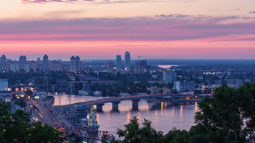 Dnipro river and bridge in Kyiv, Ukraine.
