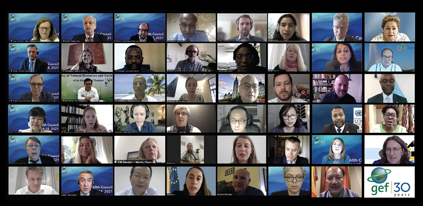 Mosaic image of select participants to the 60th GEF Council meeting