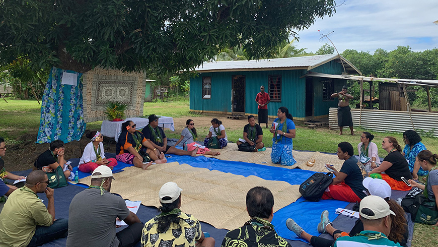 GEF's Pacific Expanded Constituency Workshop session in a Fiji village