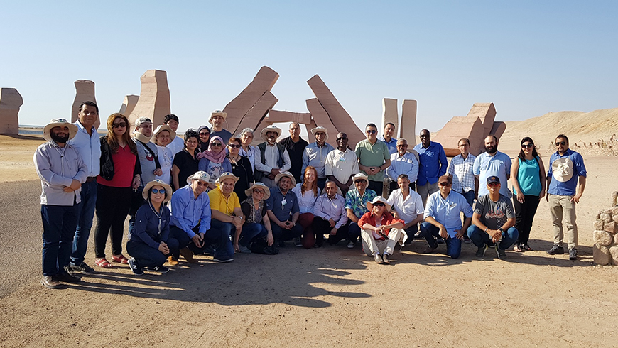 Some participants of the GEF ECW in Egypt (Sharm El Sheikh) gather at the Ras Mohammed Nature Reserve during a project site visit.