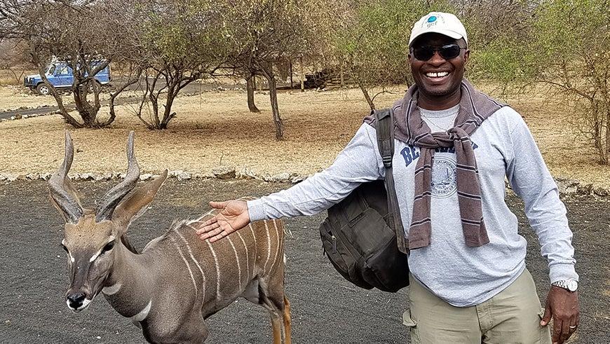 Mohamed Bakarr with an antelope