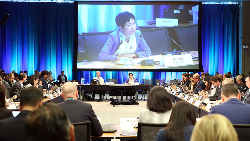 "Opening the 56th GEF Council, GEF CEO and Chairperson Naoko Ishii said: ""Science provides us with the crystal-clear message that the natural world is under attack. We humans have pushed the carrying capacity of the planet to its limits. Unless we urgently change the way we live, we will lose the favourable Earth conditions that are the very foundations of our own prosperity."" Photo: <a href=""http://enb.iisd.org/gef/council56/10jun.html"">IISD/ENB 