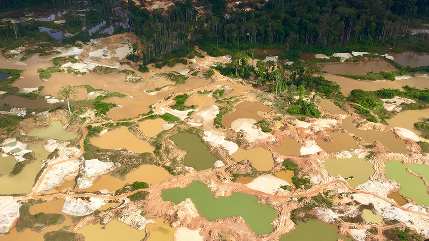 A bird's-eye view of gold mines in Guyana. Photo by Evelyn Swain.
