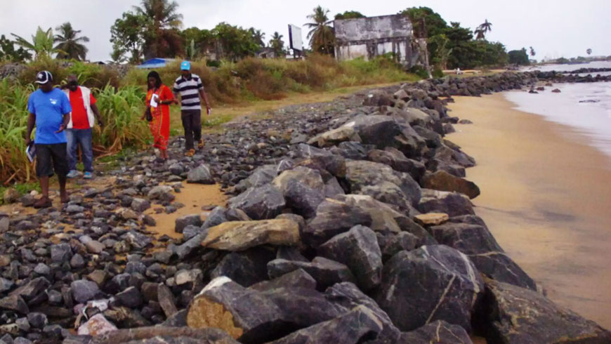 The new breakwater protects local residents from sea erosion.