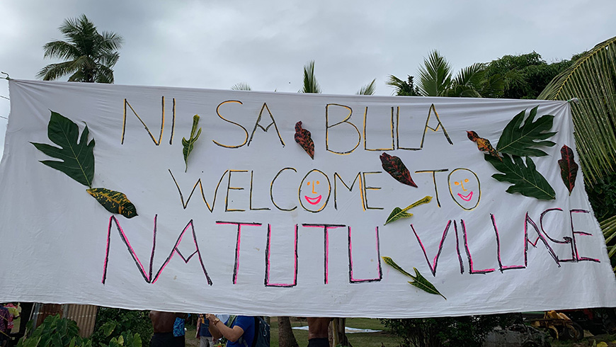 Fijian village welcome sign
