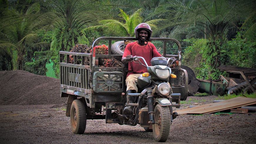 Palm producer in Ghana on moto