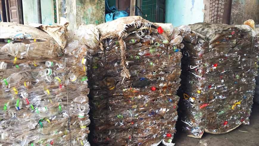 The waste is categorized into three types: recyclable, biodegradable, and persistent. Once collected, it is sorted and disposed of properly. Biodegradable waste is composted at household level and then used by local farmers for sustainable agriculture. Plastic, metal and other recyclable waste is collected and sold to recycling facilities, while persistent waste is collected and disposed of by the local government.