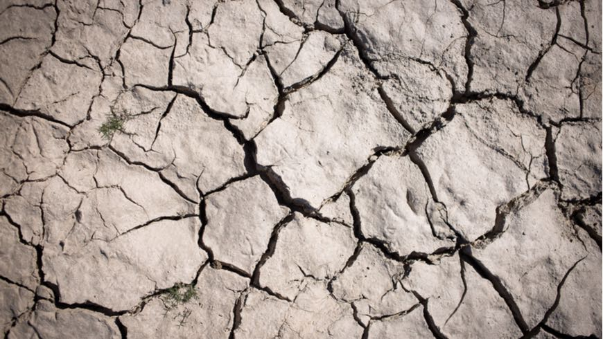 Close up of dry riverbed.