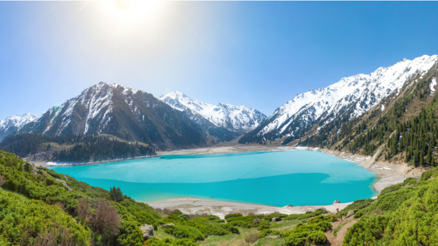 Panorama of Big Almaty Lake on Sunny summer day, Kazakhstan