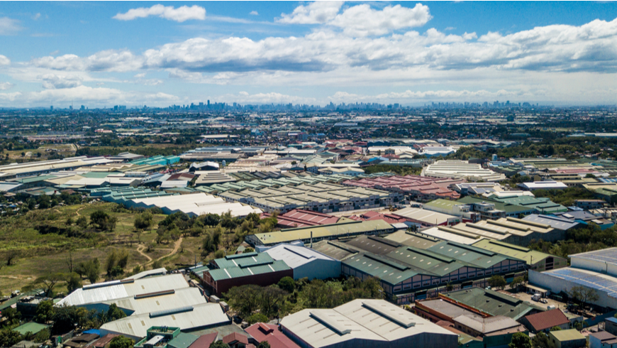 aerial view of industry park outside metro Manila, Philippines