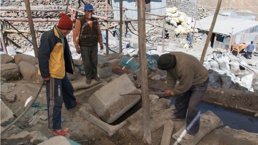 Gold miners in La Rinconada, Peru