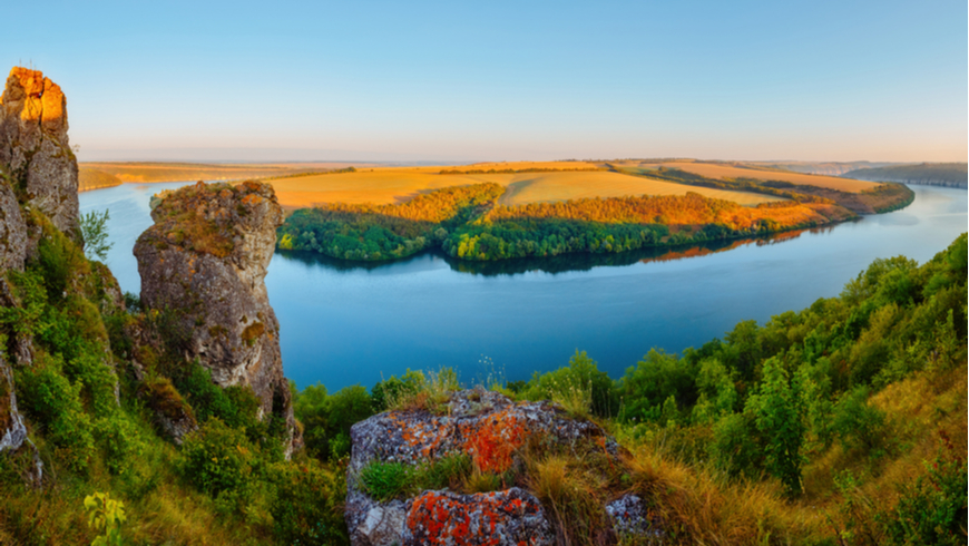 Panoramic view of the Dniester river