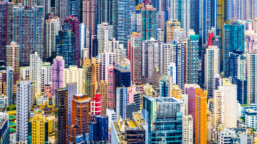Dense cityscape of Hong Kong highrise buildings