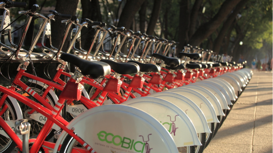 A row of bicycles from EcoBici in the Reforma Avenue in Mexico City