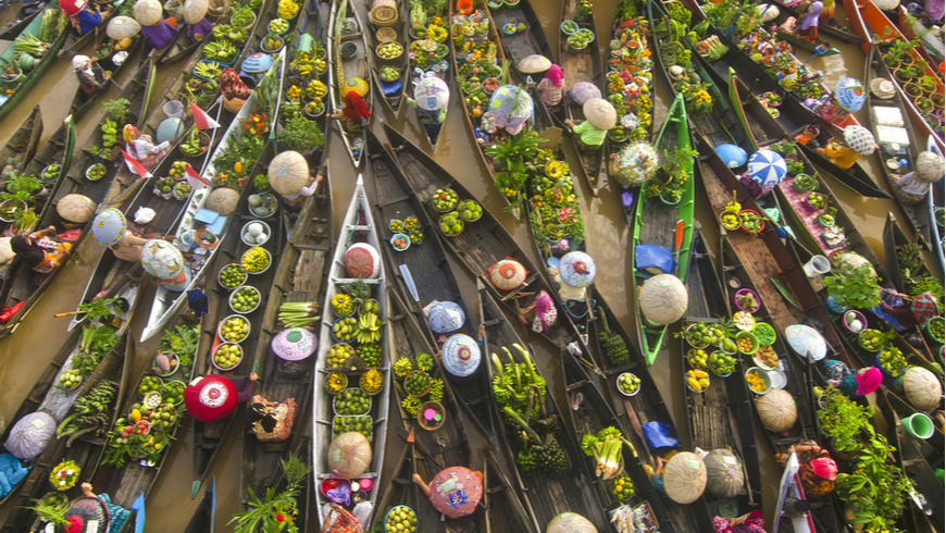 Floating boat market in Indonesia