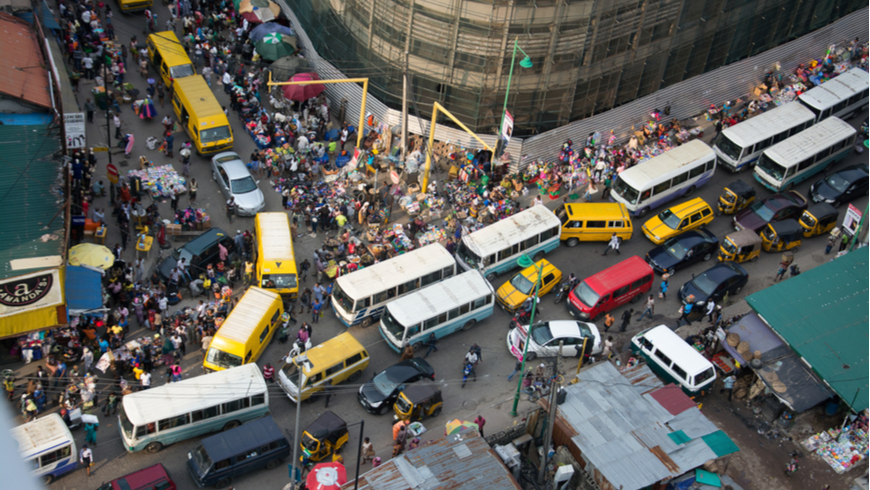 A busy market in Lagos, Nigeria. Photo: ariyo olasunkanmi/Shutterstock.