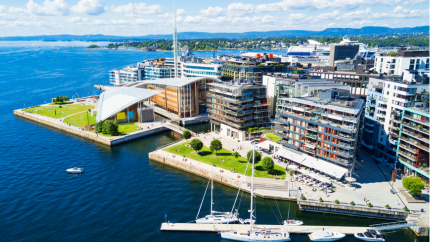 Oslo harbor at the Aker Brygge neighbourhood in Oslo