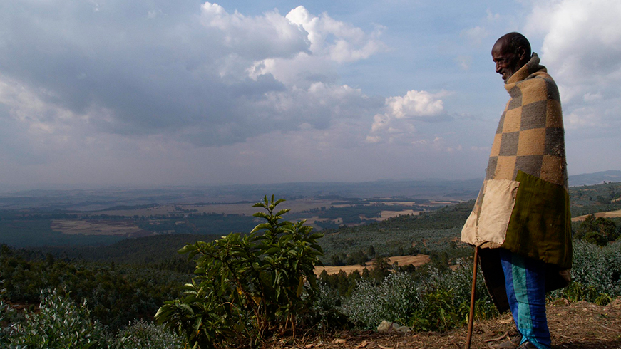 Man overlooking valley in Ethiopia