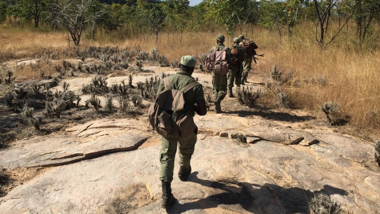 Park rangers in Mozambique marching